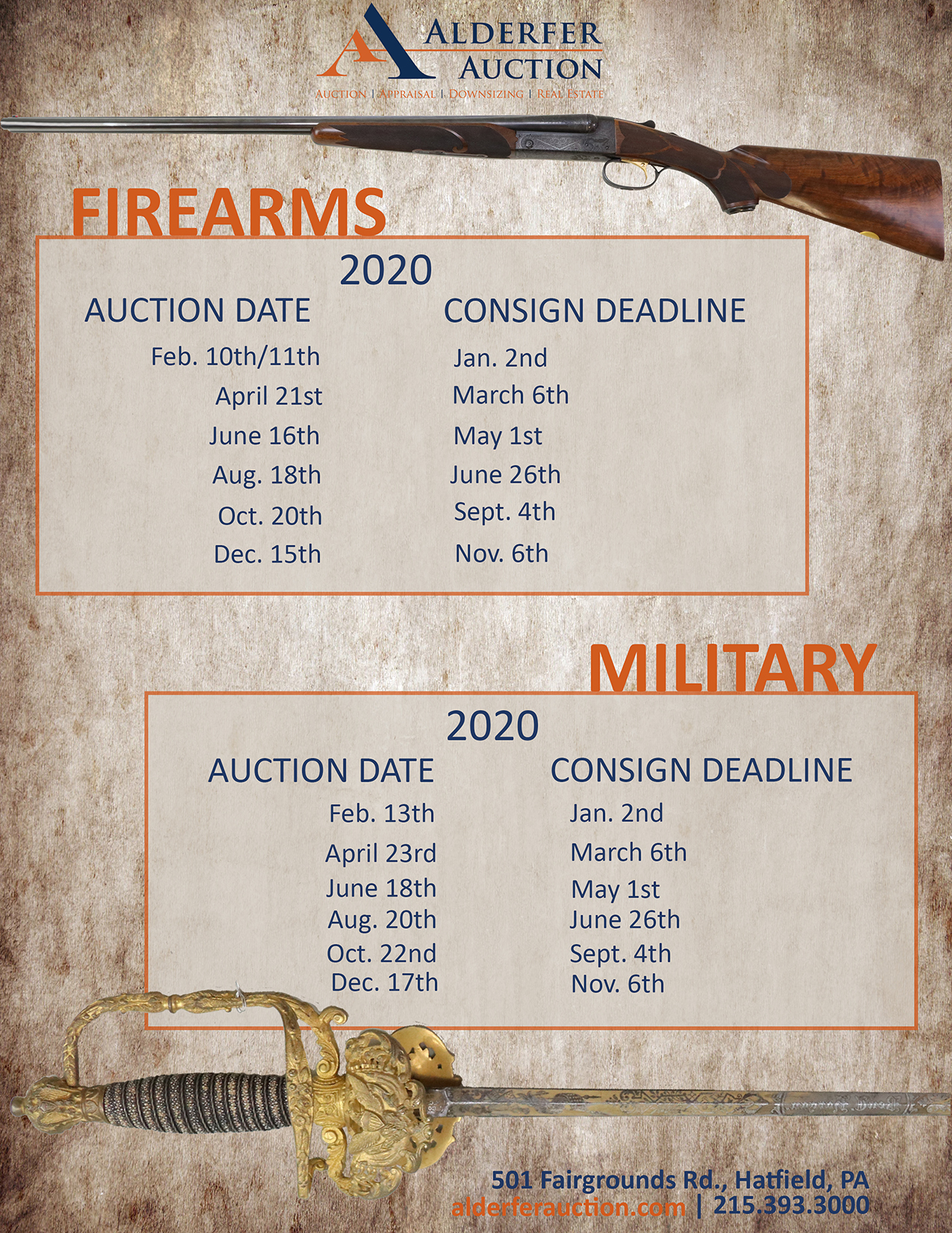 Alderfer Auction firearms and military deadlines schedule