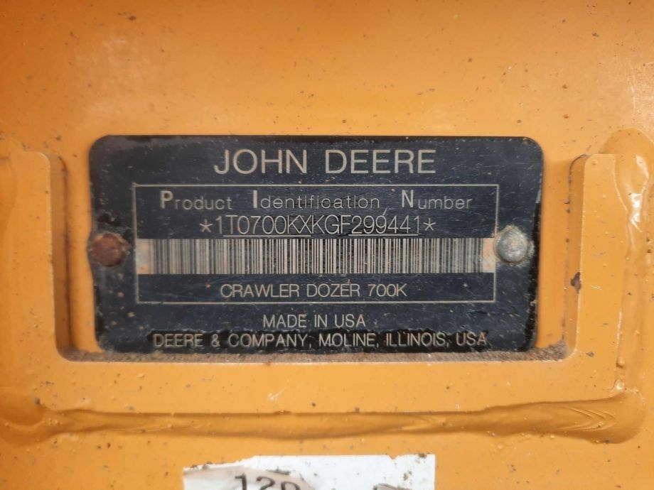 Image for 2016 JOHN DEERE 700K TRACK DOZER