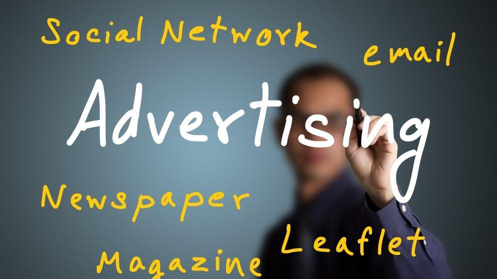 Advertising writing on screen